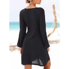 Sólido Top sin hombros Tendencia Sobre la Rodilla Pequeños Negros/Casual/Vacaciones Vestidos