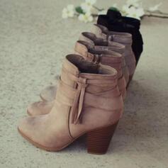 Donna Glitter scintillanti Tacco spesso Stivali alla caviglia Punta a punta con Cerniera Nappa Colore solido Listino alla caviglia scarpe
