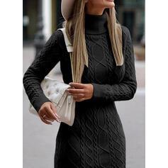 Egyszínű Hosszú ujjú Zsák Térd feletti Kis fekete/Hétköznapokra Sweter φορέματα