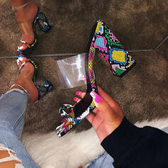 De mujer PVC Tacón ancho Sandalias Encaje Pantuflas zapatos