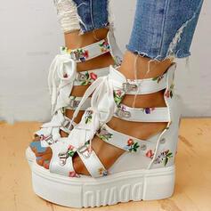 Kvinder PU Kile Hæl sandaler Platform Kiler Kigge Tå Hæle med Spænde Blomst på kryds og tværs sko