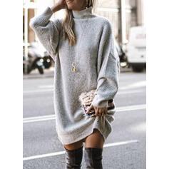 Sólido Manga Larga Tendencia Sobre la Rodilla Casual Suéter Vestidos