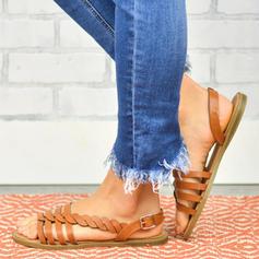 PU Tacón plano Sandalias Planos Encaje Pantuflas con Hebilla zapatos