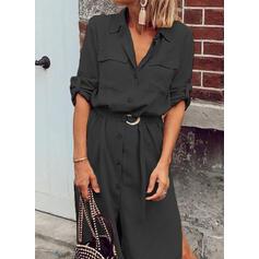 Jednolita Długie rękawy W kształcie litery A Koszula/Łyżwiaż Mała czarna/Casual Midi Sukienki