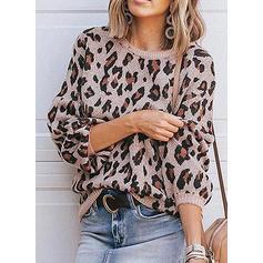 leopard Kulatý Výstřih Dlouhé rukávy Neformální Bluze