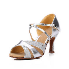 Women's Latin Sandals Leatherette Sparkling Glitter Latin