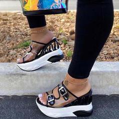 De mujer PU Tipo de tacón Sandalias Plataforma Encaje con Agujereado zapatos