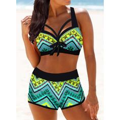 Wysoki stan Nadruk W prążki Dekolt w kształcie litery V Wintage Duży rozmiar Bikini Stroje kąpielowe