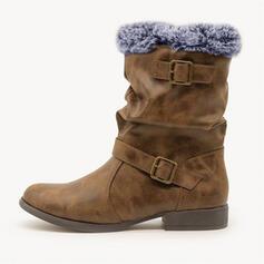 Dámské PU Široký podpatek Boty do sněhu Martin boty Kolem špičky S Přezka Srst obuv