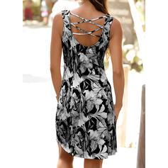 Print/Floral Sleeveless Sheath Knee Length Casual/Vacation Tank Dresses