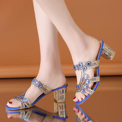 De mujer PVC Tacón ancho Sandalias Encaje Pantuflas con Rhinestone zapatos