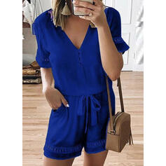 Solid Short Sleeves A-line Casual Rompers Dresses