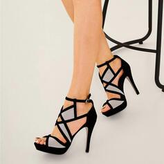 Mulheres Camurça Salto agulha Bombas Peep toe com Fivela sapatos