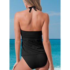 Solid Color Halter Sexy Elegant Tankinis Swimsuits
