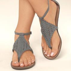 De mujer PU Tacón plano Sandalias Planos con Agujereado zapatos