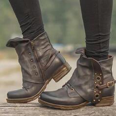 Vrouwen PU Chunky Heel Enkel Laarzen Ronde neus met Klinknagel Gesp Effen kleur schoenen