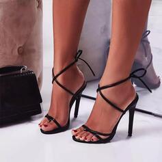 Kvinnor PU Stilettklack Pumps Peep Toe Klackar med Bandage Ihåliga ut skor