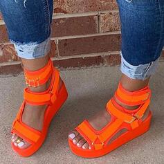 De mujer PU Tacón plano Sandalias Plataforma Encaje con Agujereado Velcro zapatos
