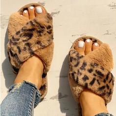 Mulheres PU Sem salto Chinelos com Pele sapatos