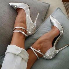 スパークリングキラキラ スティレットヒール ポンプ かかと とともに スパークリングキラキラ 靴