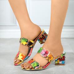 De mujer PU Tacón ancho Sandalias Cuñas con Color de empalme zapatos