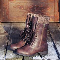 De mujer Cuero Tacón bajo Botas con Cordones zapatos