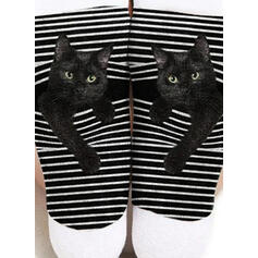 Zvířecí/Tisk Prodyšný/Posádkové ponožky/Černá kočka/Unisex Ponožky