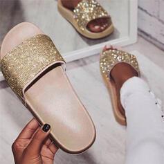 De mujer PU Tacón plano Pantuflas con Rhinestone zapatos