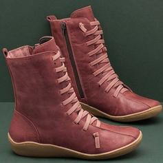 De mujer PU Tacón bajo Botas con Cremallera Cordones zapatos
