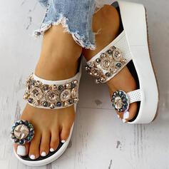 De mujer PU Tipo de tacón Sandalias Plataforma Cuñas Encaje Pantuflas Anillo del dedo del pie con Rhinestone Hebilla Cadena zapatos
