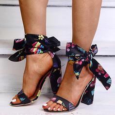 De mujer Cuero Tacón ancho Sandalias Salón Encaje con Bowknot zapatos