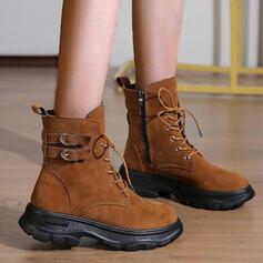 De mujer Ante Tacón plano Botas Botas al tobillo con Cordones Color sólido zapatos