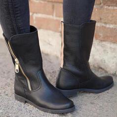 Dámské PU Nízký podpatek Boty Kozačky do půl lýtek Martin boty Kolem špičky S Zip Solid Color obuv