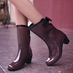 De mujer PVC Tacón ancho Botas Botas longitud media Botas de lluvia con Bowknot zapatos