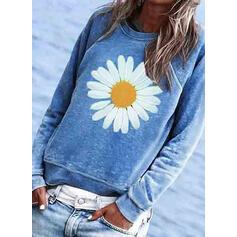 Květiny Tisk Kulatý Výstřih Dlouhé rukávy Trička