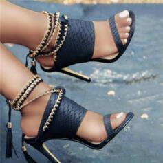 Dámské PU Jehlový podpatek Sandály Lodičky S otevřenou špičkou Podpatky S Řetízkový Vydlabaný Tassel Solid Color obuv