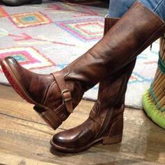 Dámské PU Placatý podpatek Boty Kozačky do půl lýtek S Solid Color obuv