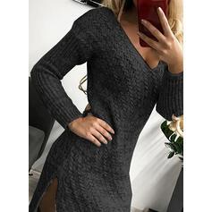 Sólido Manga Comprida Bainha Acima do Joelho Vestido Preto/Casual Suéter Vestidos