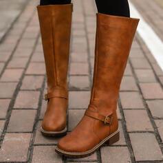 Vrouwen PU Chunky Heel Rijlaarzen Ronde neus met Gesp Rits Effen kleur schoenen