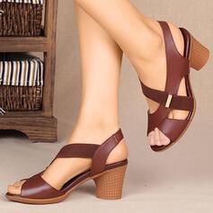 De mujer PU Tacón ancho Sandalias Salón con Banda elástica Cruzado zapatos