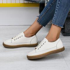 Kvinnor Duk Flat Heel Platta Skor / Fritidsskor med Skarvfärg Bandage skor