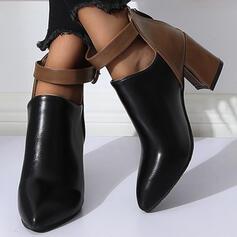 Mulheres PU Salto robusto Bota no tornozelo com Fivela Zíper sapatos