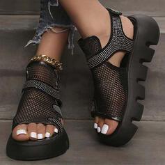 Kvinder Klud Mesh Kile Hæl sandaler Platform Kigge Tå Slingbacks med Rhinsten Udhul Velcro Solid Color sko