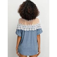 Krajka Kulatý Výstřih Krátké rukávy Neformální Sexy Bluze