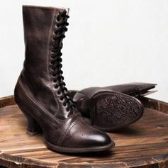 Mulheres PU Salto robusto Botas com Aplicação de renda sapatos