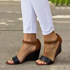 De mujer PU Tipo de tacón Sandalias Cuñas con Hebilla zapatos