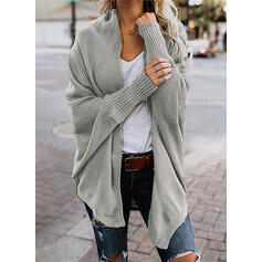 Polyester Long Sleeves Solid Chunky knit Waffle Knit Cardigans