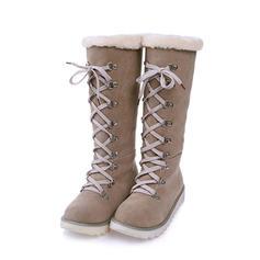 De mujer Ante Tacón plano Botas Botas de nieve con Cordones zapatos