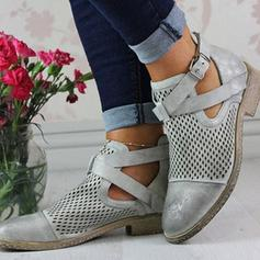 De mujer PU Tacón plano Planos Cerrados Botas Botas al tobillo con Hebilla Agujereado zapatos