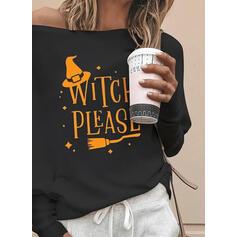 halloween Распечатать Knit Одно плечо Длинные рукова Повседневная Блузы